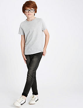 Cotton Rich Super Skinny Fit Jeans (3-16 Years), GREY, catlanding