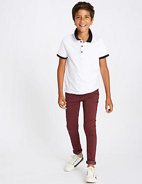 Cotton Rich Super Skinny Fit Jeans (3-16 Years), BURGUNDY, catlanding