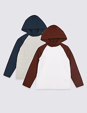 2 Pack Hooded T-Shirts (3-16 Years), WHITE MIX, catlanding