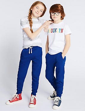 Cotton Rich Joggers (3-16 Years), BRIGHT BLUE, catlanding
