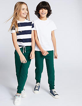 Cotton Rich Joggers (3-16 Years), FOREST GREEN, catlanding