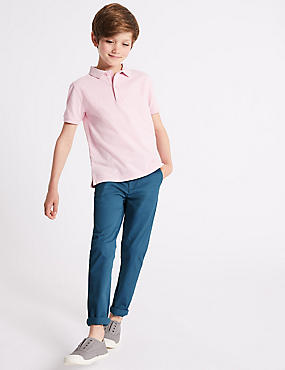 PLUS Cotton Chinos with Stretch (3-16 Years), BLUE, catlanding