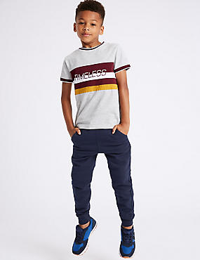 Cotton Rich Joggers (3-16 Years), NAVY, catlanding