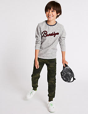 Cotton Rich Joggers (3-16 Years), GREEN MIX, catlanding