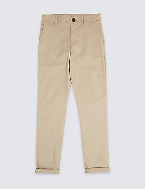 Additional Length Cotton Chinos with Stretch (3-16 Years), STONE, catlanding