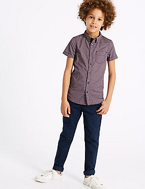 PLUS Cotton Chinos with Stretch (3-16 Years), NAVY, catlanding