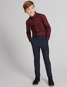 Cotton Jacquard Trousers with Stretch (3-14 Years)