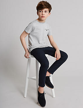 Pure Cotton Ottoman Chinos (3-16 Years), NAVY, catlanding
