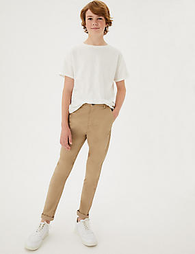 Cotton Chinos with Stretch (3-16 Years), STONE, catlanding