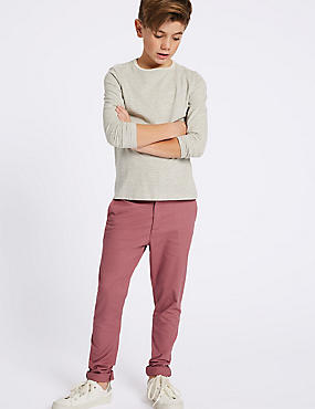Additional Length Cotton Chinos with Stretch (3-16 Years), CARMINE, catlanding