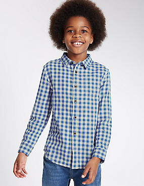 Pure Cotton Blue Gingham Shirt (3-14 Years)