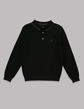 Merino Wool Blend Polo Jumper (5-14 Years)