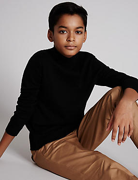 Merino Wool Blend Roll Neck Jumper (5-14 Years)