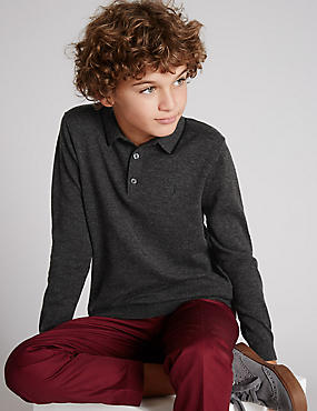 Merino Wool Blend Knitted Polo Jumper (5-14 Years)