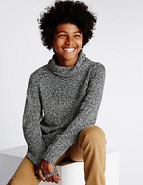 Cowl Neck Cotton Blend Jumper (5-14 Years)