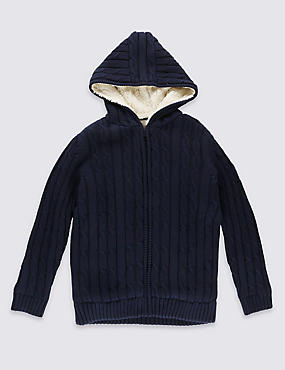 Pure Cotton Navy Borg Hooded Jumper (5-14 Years)
