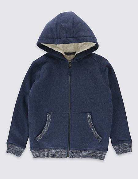 Cotton Rich Lined Hooded Sweatshirt (5-14 Years)