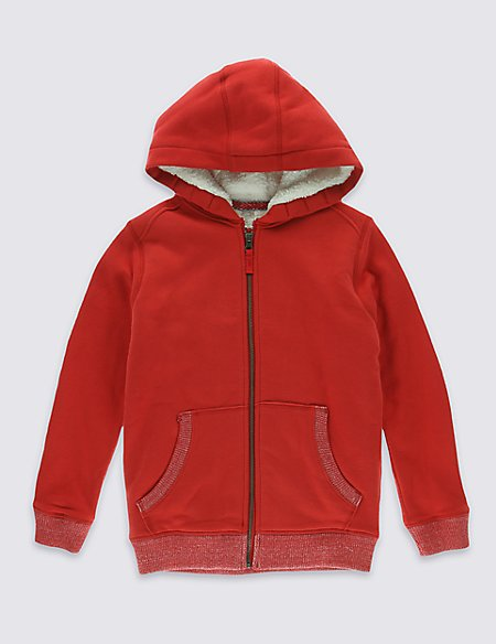 Cotton Rich Zipped Through Hooded Sweatshirt (7-14 Years)