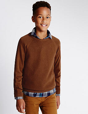 Pure Cotton Textured Crew Neck Jumper (5-14 Years)