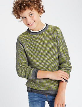 Pure Cotton Knitted Jumper (5-14 Years)