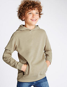 Cotton Rich Slouch Neck Hooded Sweatshirt (5-14 Years)