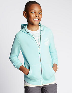 Cotton Rich Acid Wash Hooded Sweatshirt (5-14 Years)