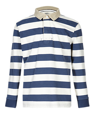 Pure Cotton Striped Rugby Top (5-14 Years) Clothing