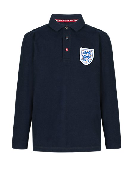 England FA 3 Lions Pure Cotton Polo Shirt (5-14 Years)