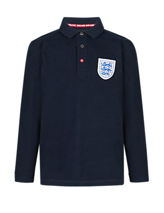 England FA 3 Lions Pure Cotton Polo Shirt (5-14 Years) Clothing