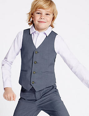 4 Button Waistcoat (3-14 Years), BLUE MIX, catlanding