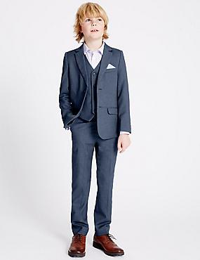 Birdseye Trousers (3-14 Years), BLUE MIX, catlanding