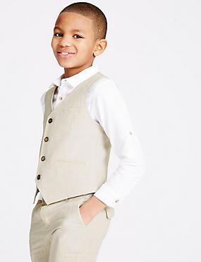 Linen Blend 4 Button Waistcoat (3-14 Years), STONE, catlanding
