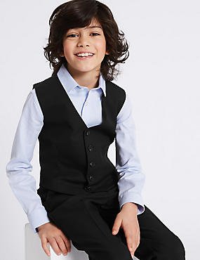 Waistcoat with Stretch (3-16 Years), BLACK, catlanding