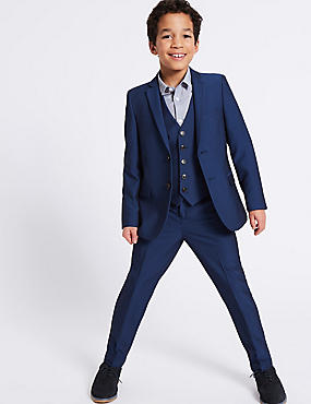 Notch Lapel 2 Button Jacket (3-16 Years), BRIGHT BLUE, catlanding