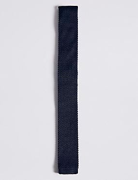 Knitted Tie (5-14 Years), NAVY, catlanding