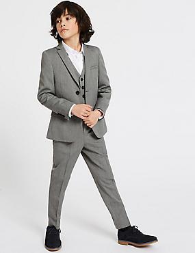 Textured Trousers (3-16 Years), GREY, catlanding
