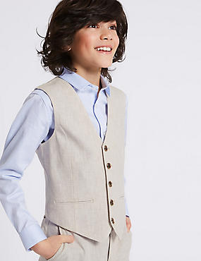 Linen Rich Textured Waistcoat (3-16 Years), STONE, catlanding