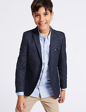 Textured Fashion Blazer (3-16 Years), NAVY, catlanding