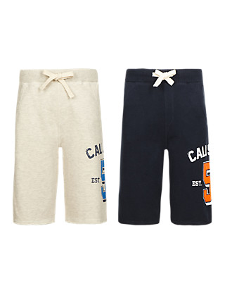 2 Pack Cotton Rich Drawstring Shorts (5-14 Years) Clothing
