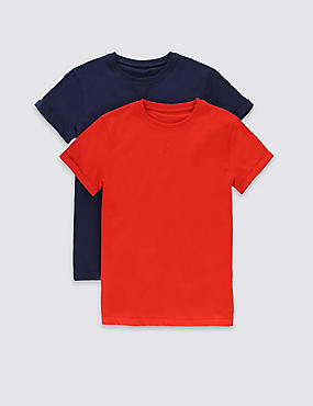 2 Pack Pure Cotton T-Shirts (5-14 Years)
