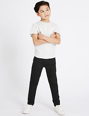Cotton Skinny Leg Jeans with Stretch (3-14 Years), BLACK DENIM, catlanding
