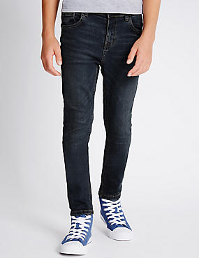 Cotton Dark Skinny Denim Jeans with Stretch (3-14 Years)