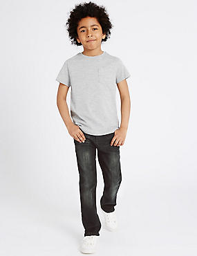 Cotton Denim Regular Jeans with Stretch (3-14 Years)
