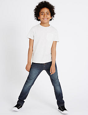 Cotton with Stretch Dark Regular Jeans (3-14 Years)