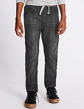 Cotton Blend Rib Waist Jean (3-14 Years)