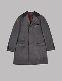 Collared Neck Coat with Wool (3-14 Years)