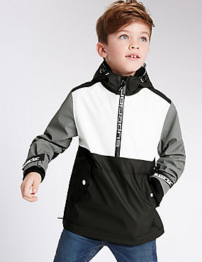 Colour Block Hooded Jacket (3-14 Years)