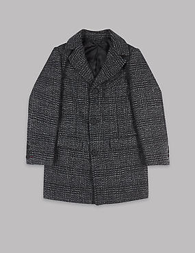 Checked Coat with wool (3-16 Years), NAVY, catlanding