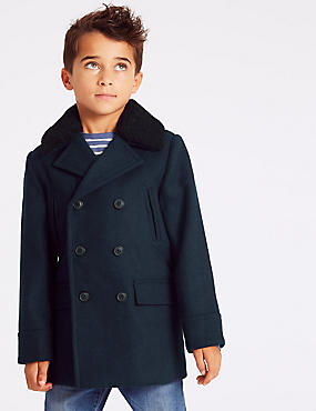 Pea Coat with Wool (3-16 Years), NAVY, catlanding