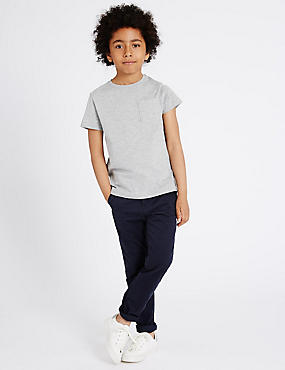 Pure Cotton Adjustable Waistband Chinos (5-14 Years)